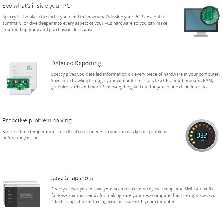 Speccy PC system information tool all Features