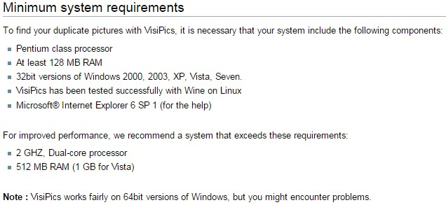 VisiPics System Requirements