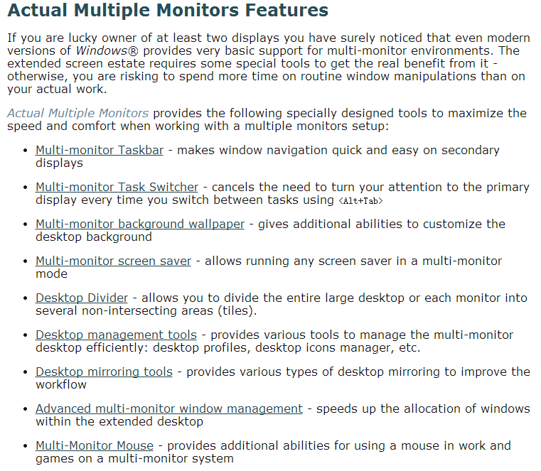 Actual Multiple Monitors key Features