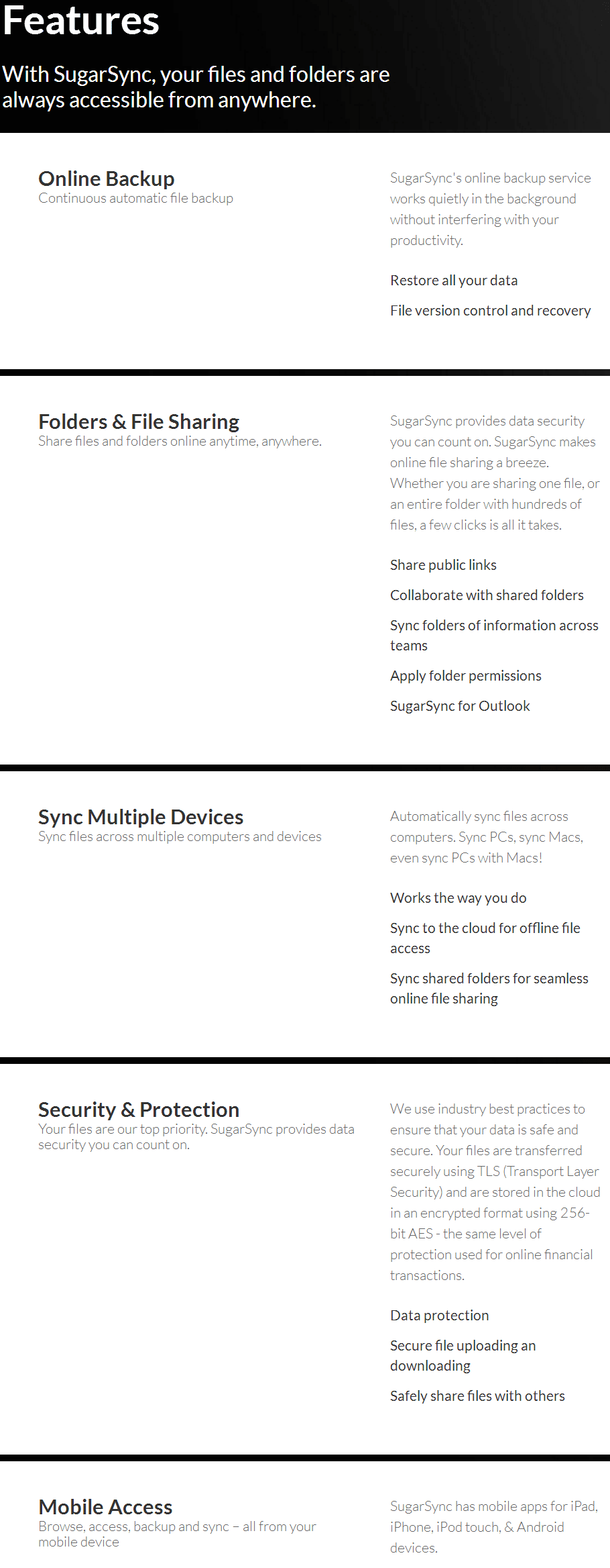 SugarSync key Features