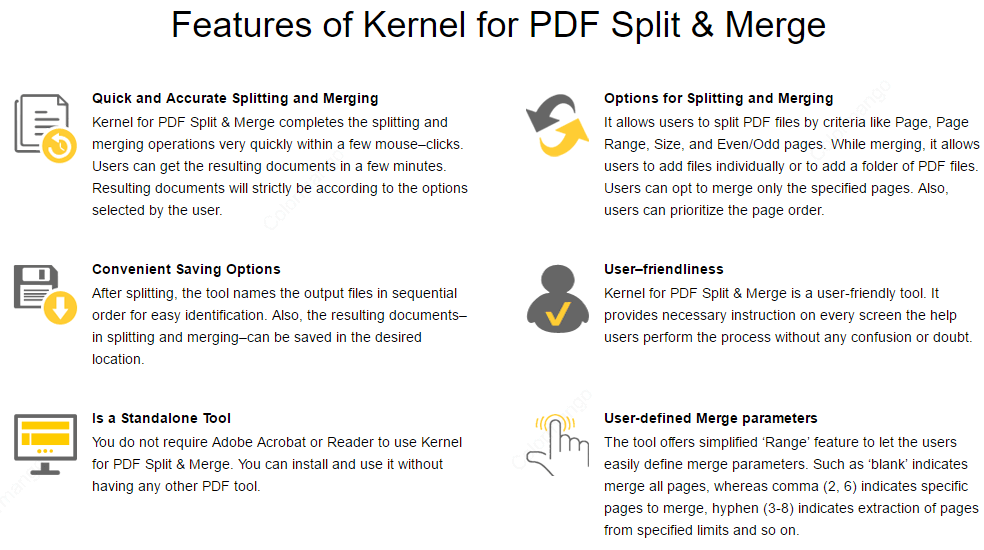 Kernel for PDF Split and Merge key Features