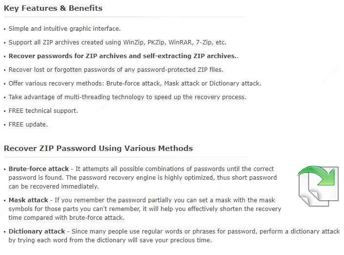 ZIP Password Recovery Feature