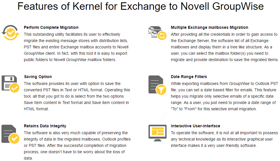 Kernel for Exchange to GroupWise key Features