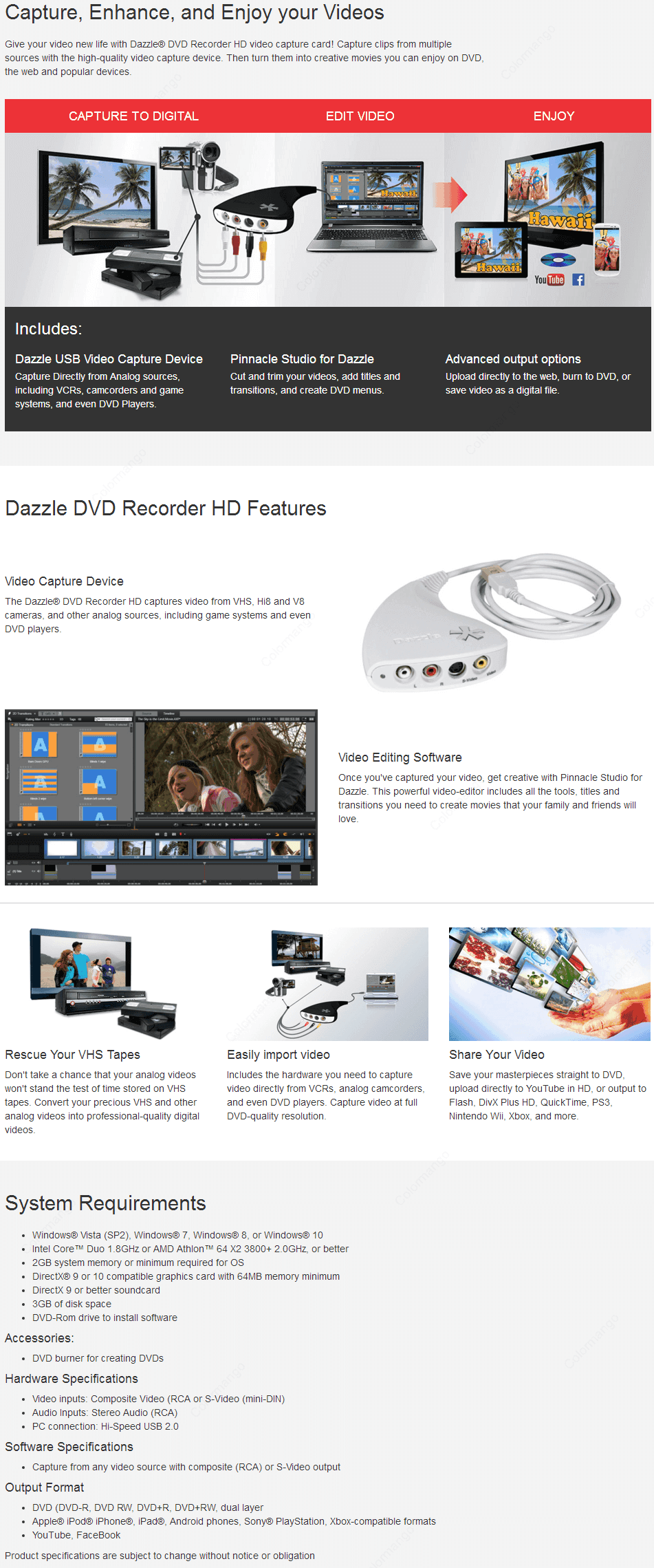 Dazzle DVD Recorder HD key Features