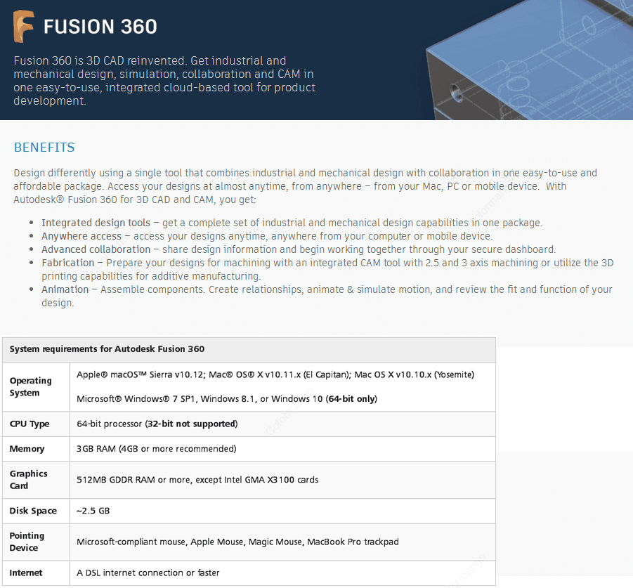 Autodesk Fusion 360 key Features