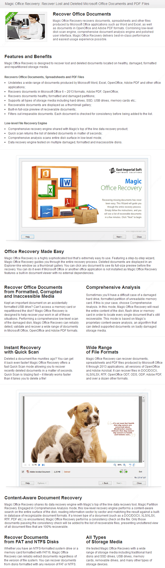 Magic Office Recovery key Features