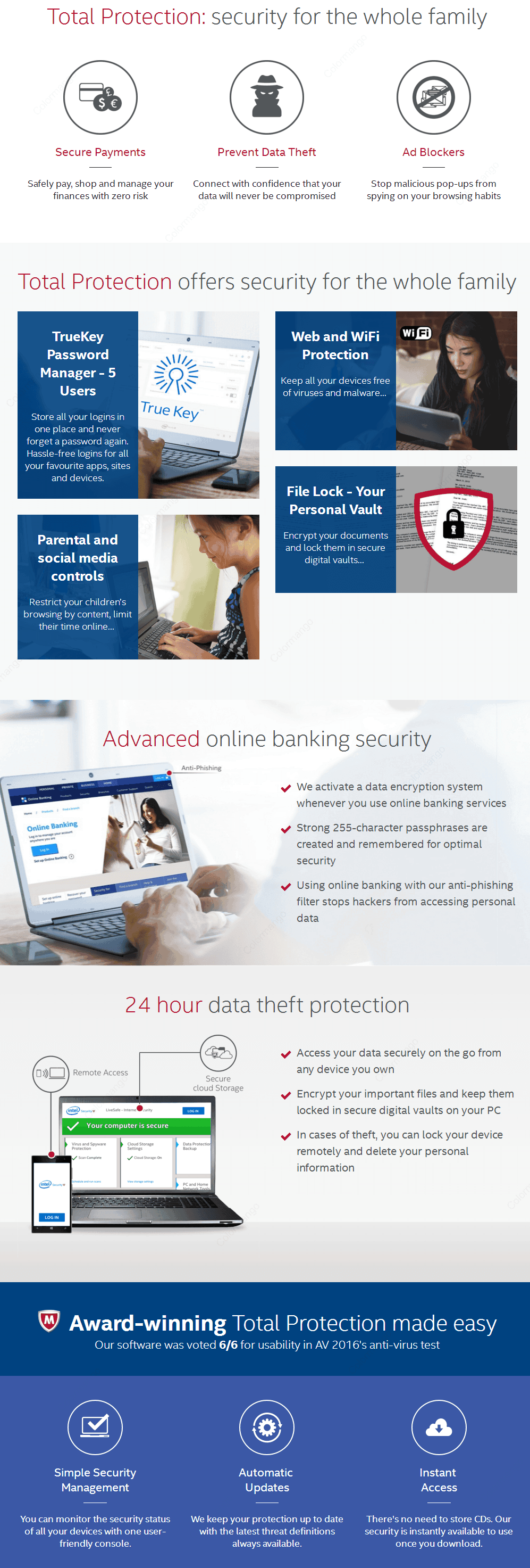 McAfee Total Protection key Features