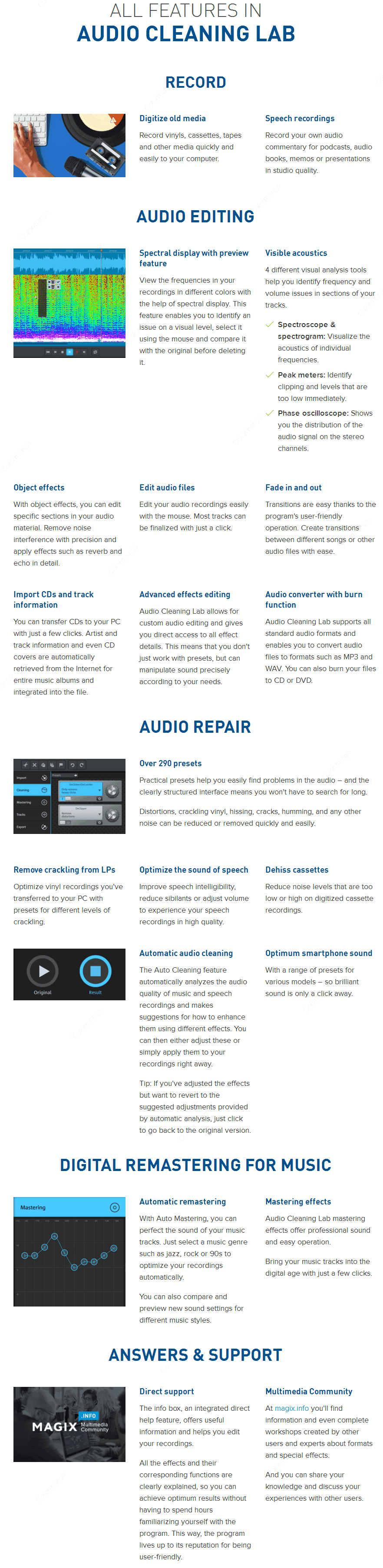 SOUND FORGE Audio Cleaning Lab key Features