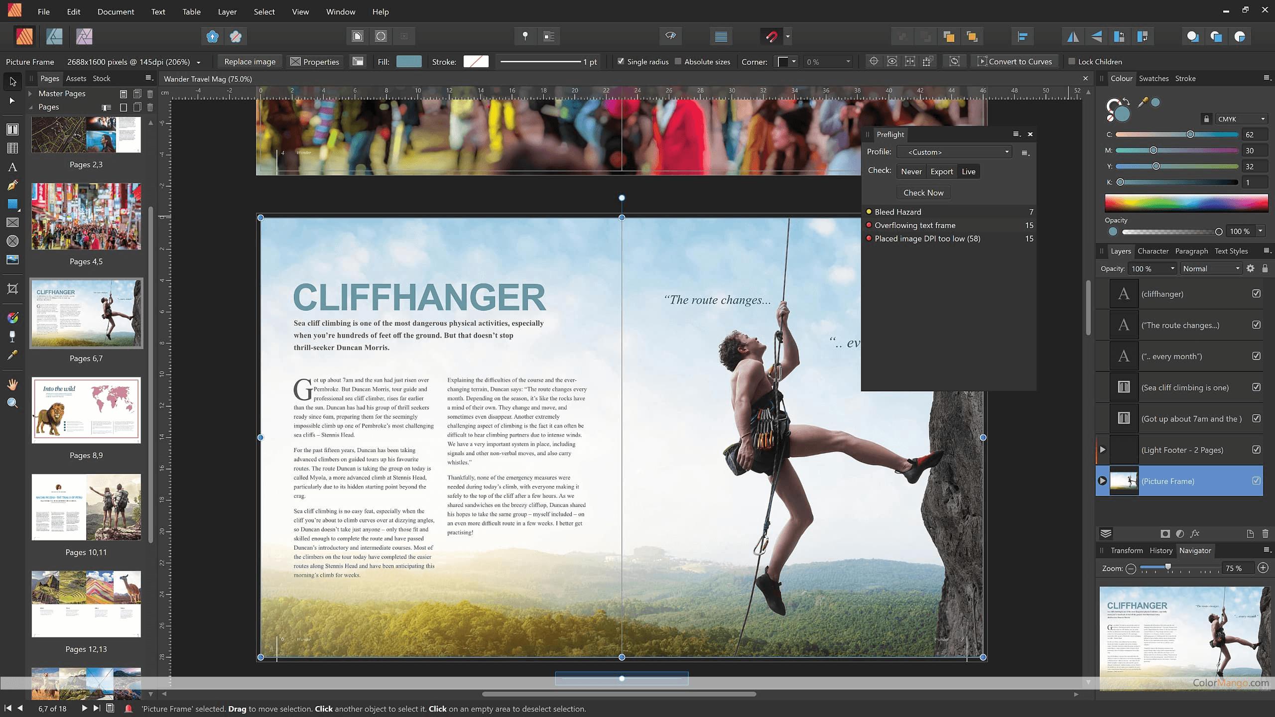 Affinity Publisher Bildschirmfoto