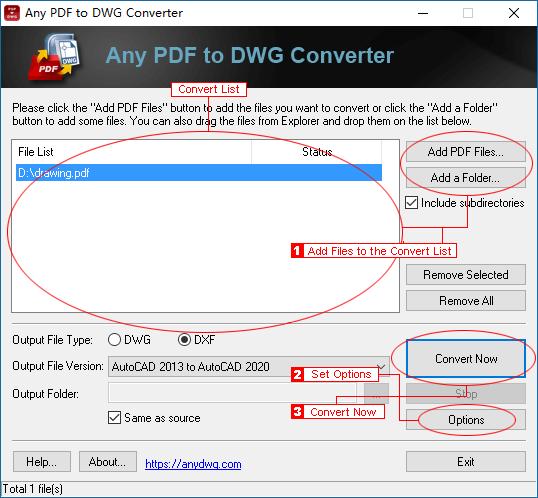 Any PDF to DWG Converter Screenshot