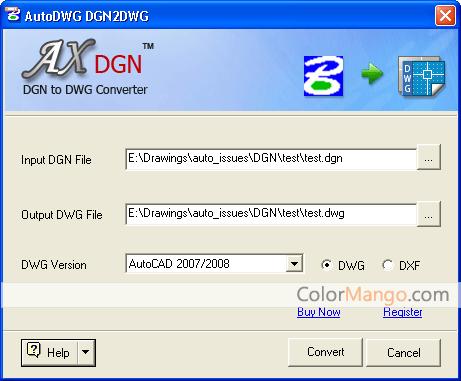 DGN to DWG Converter Screenshot