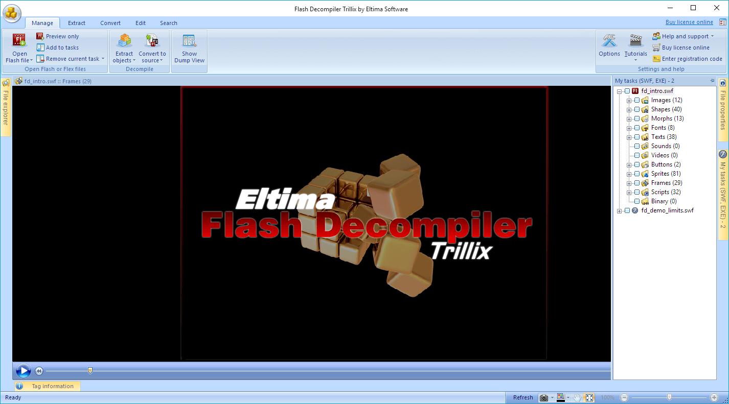 Eltima Flash Decompiler Trillix Screenshot