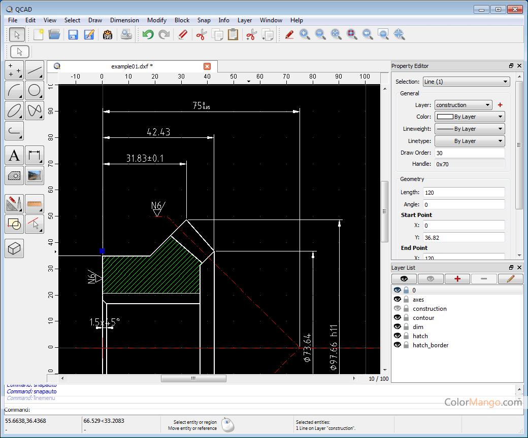 QCAD Screenshot