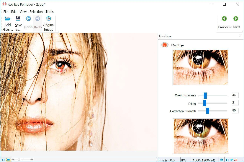 SoftOrbits Red Eye Removal Screenshot