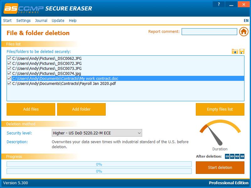 ASCOMP Secure Eraser Bildschirmfoto