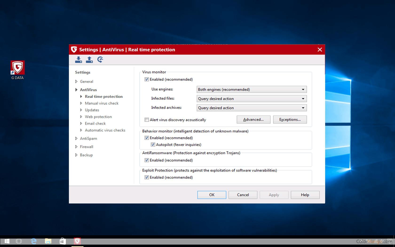 G Data Internet Security Screenshot