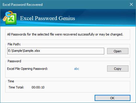 iSunshare Excel Password Genius Screenshot