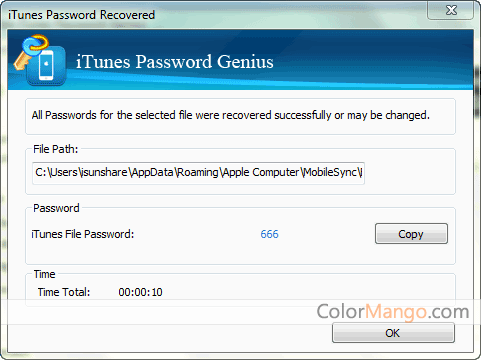 iSunshare iTunes Password Genius Capture D'écran