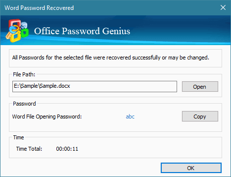 iSunshare Office Password Genius Screenshot