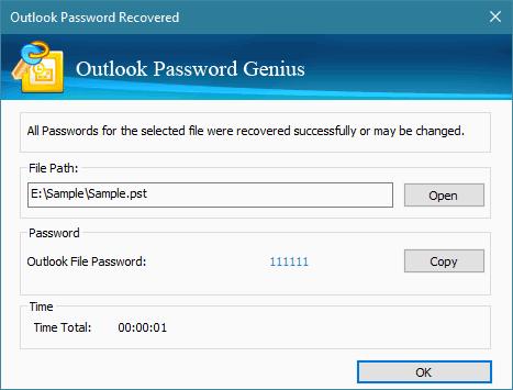 iSunshare Outlook Password Genius Screenshot