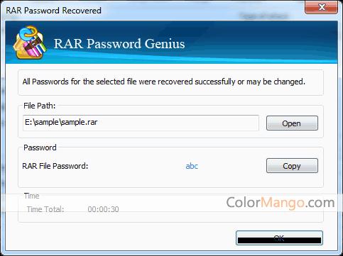 iSunshare RAR Password Genius Screenshot