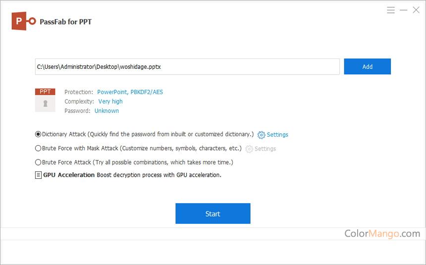 PassFab for PPT Screenshot