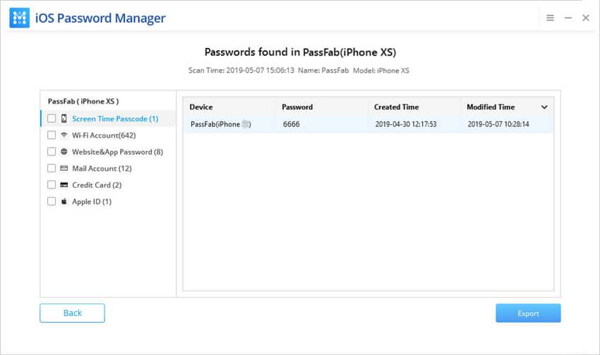 PassFab iOS Password Manager Bildschirmfoto