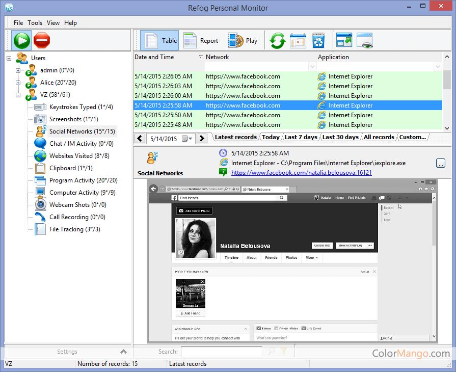 REFOG Personal Monitor スクリーンショット