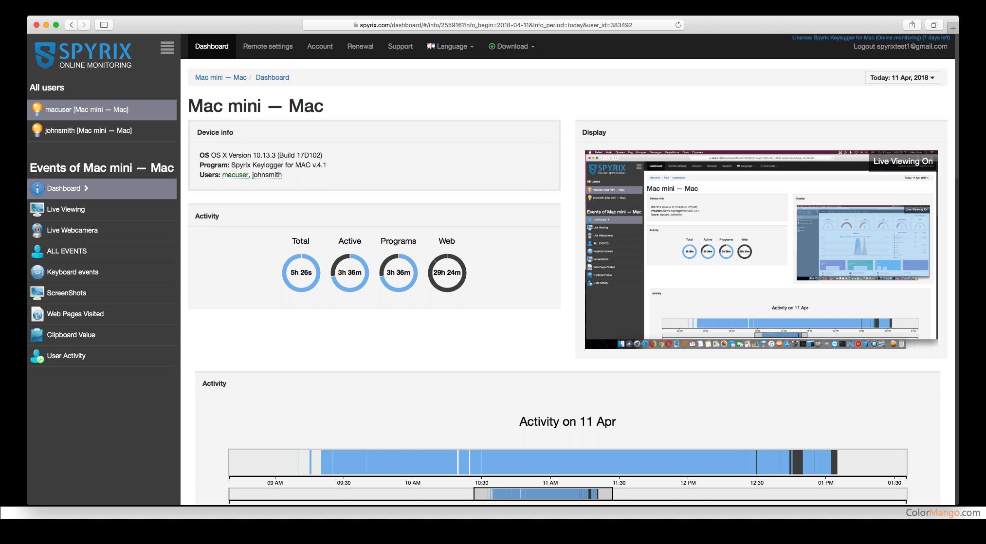 Spyrix Keylogger For Mac OS Screenshot