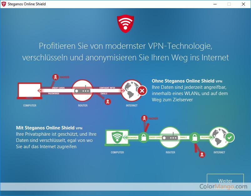 Steganos Online Shield VPN Bildschirmfoto