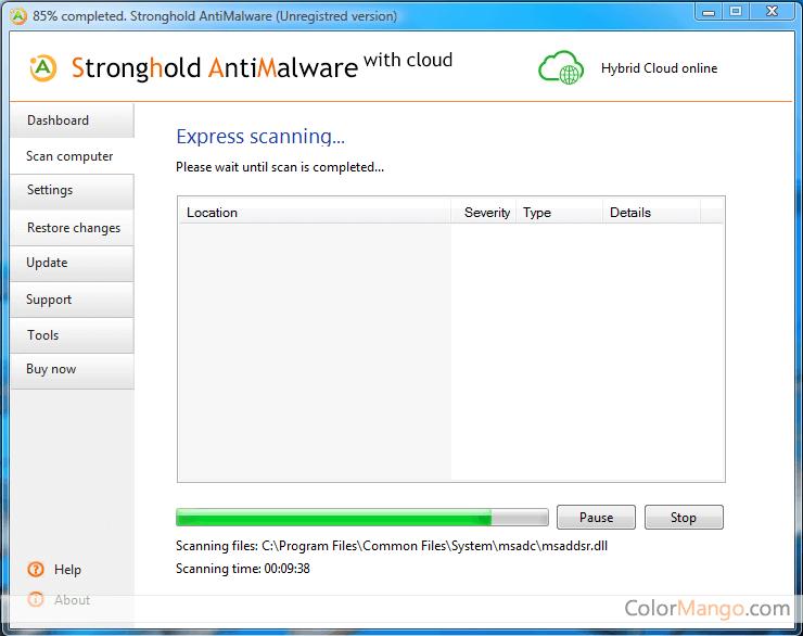 Stronghold AntiMalware Screenshot