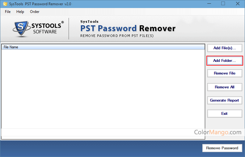 SysTools PST Password Remover Screenshot