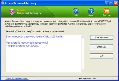 Access Password Recovery Screenshot