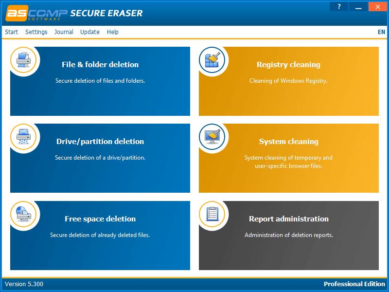 ASCOMP Secure Eraser Screenshot