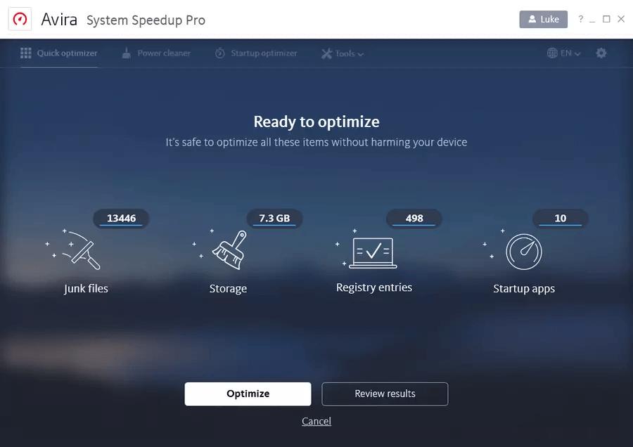 Avira Optimization Suite Screenshot