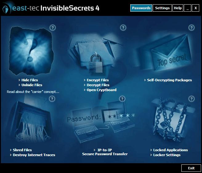 east-tec InvisibleSecrets Screenshot
