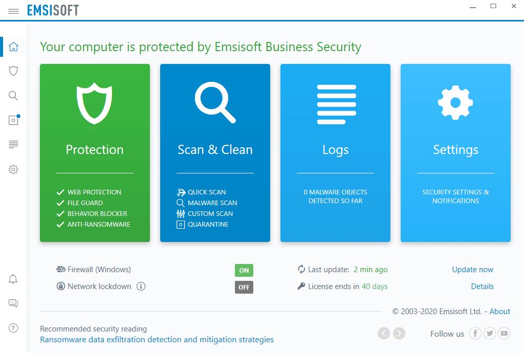 Emsisoft Business Security Screenshot