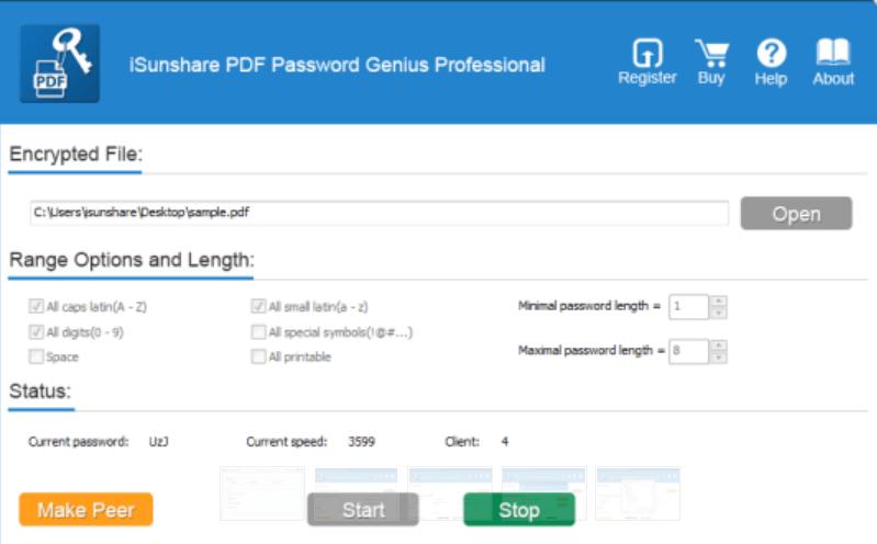 iSunshare PDF Password Genius Screenshot