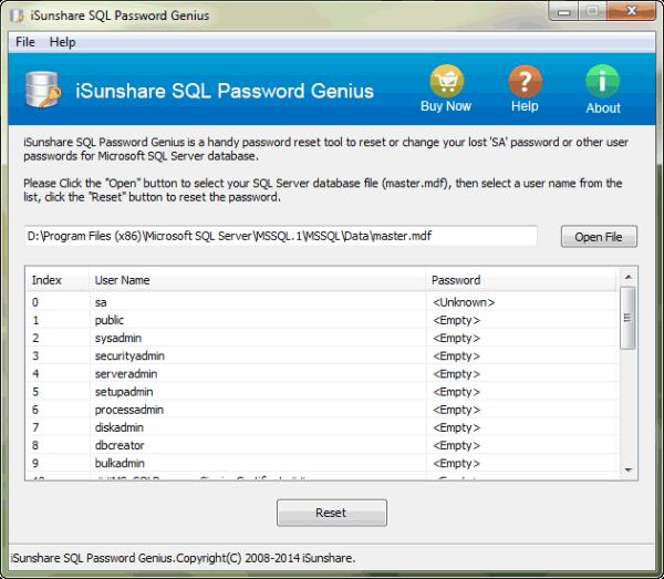 iSunshare SQL Password Genius Screenshot