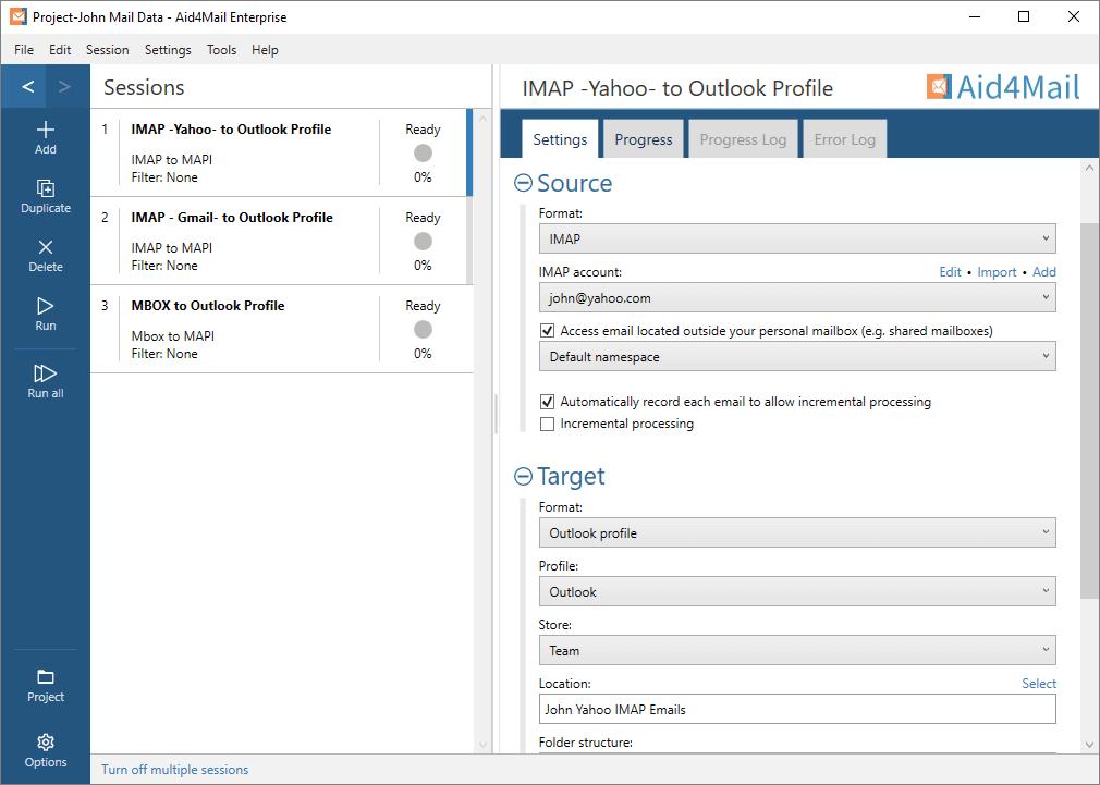 Aid4Mail Screenshot