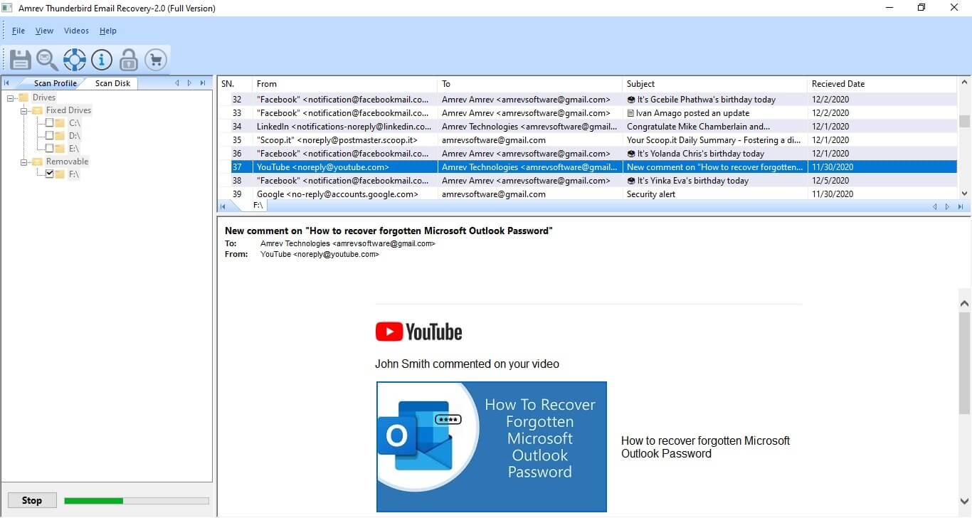 Amrev Thunderbird Email Recovery Screenshot