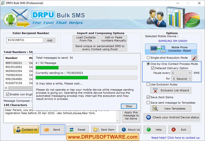 DRPU Bulk SMS Capture D'écran