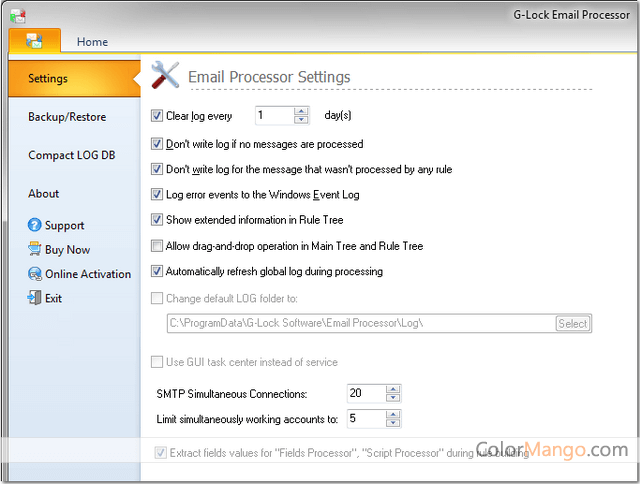 G-Lock Email Processor Screenshot