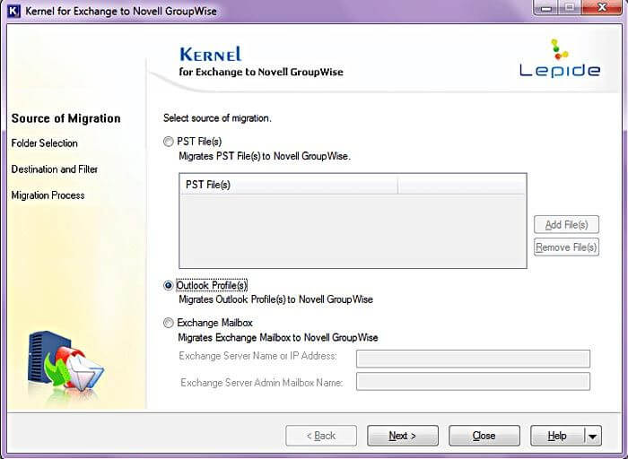 Kernel for Exchange to GroupWise Screenshot