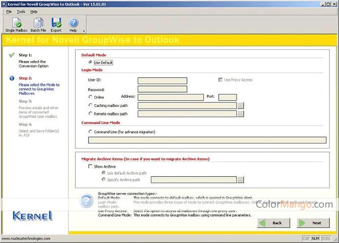 Kernel for GroupWise to Outlook Bildschirmfoto