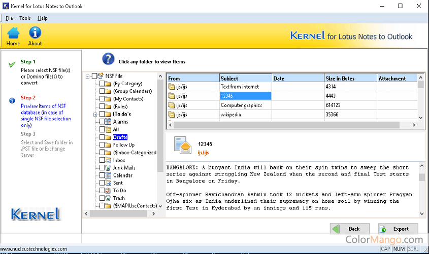 Kernel for Lotus Notes to Outlook Screenshot