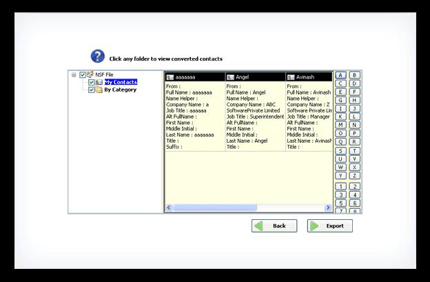 Kernel for Notes Contacts to Outlook Bildschirmfoto