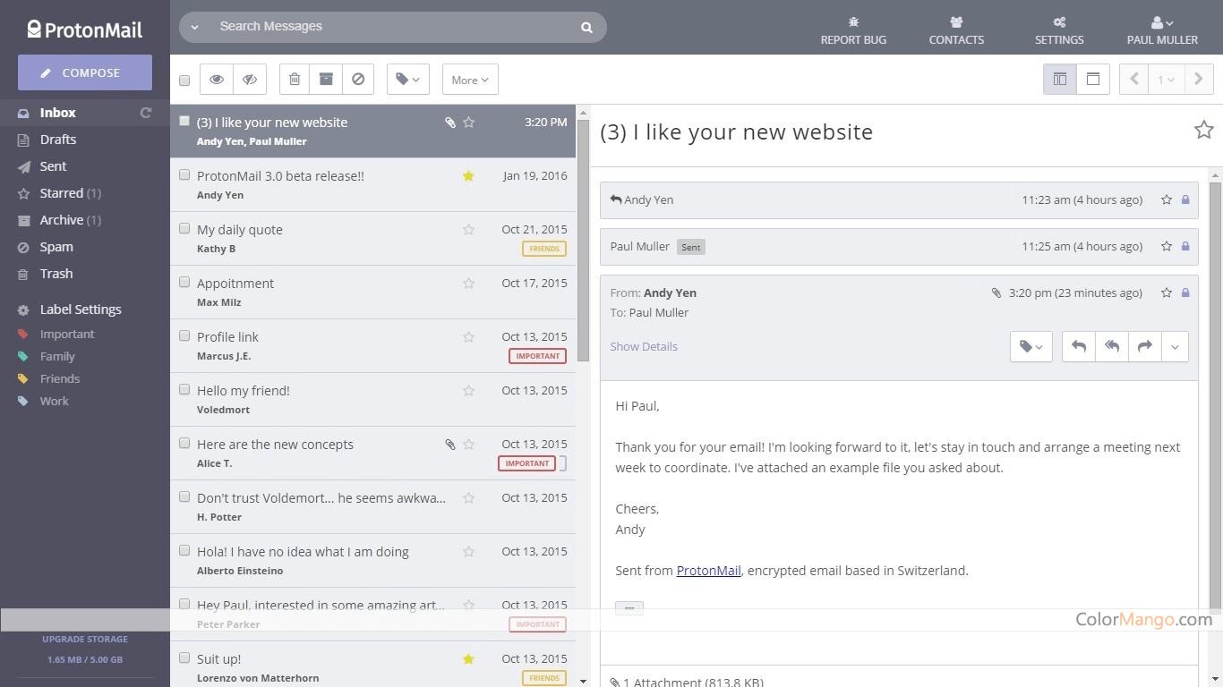 ProtonMail Screenshot