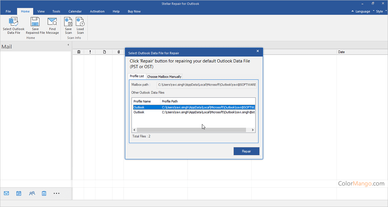 Stellar Repair for Outlook Bildschirmfoto
