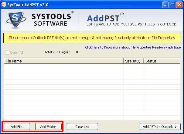 SysTools AddPST Screenshot